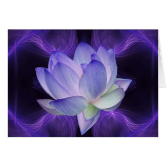 Purple Lotus and sacred geometry Greeting Card