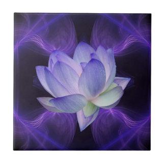 Purple Lotus and sacred geometry Small Square Tile