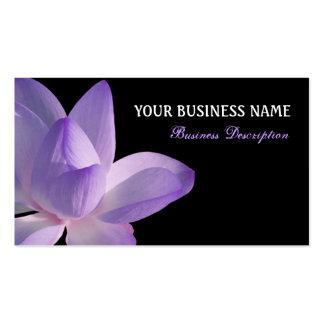 Purple Lotus Bloom on Black Business Card Templates