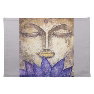 Purple Lotus Buddha Watercolor Art Cloth Place Mat
