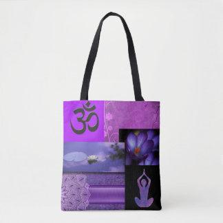 Purple Lotus & Crown Chakra Meditation Collage Tote Bag