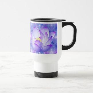 Purple lotus flower and fractal crystals mug