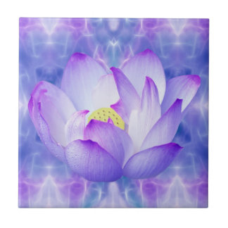 Purple lotus flower and fractal crystals small square tile