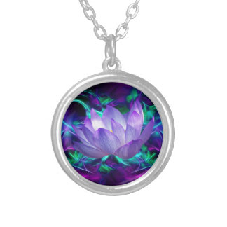 Purple lotus flower and its meaning silver plated necklace