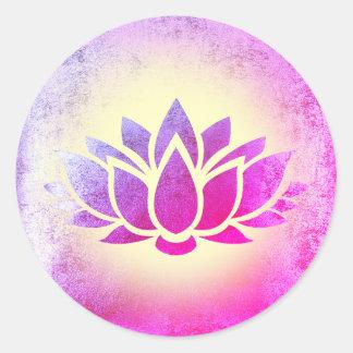 purple lotus flower art classic round sticker