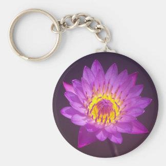 Purple Lotus Flower Basic Round Button Key Ring