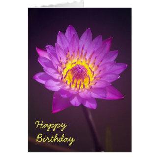 Purple Lotus Flower Birthday Card