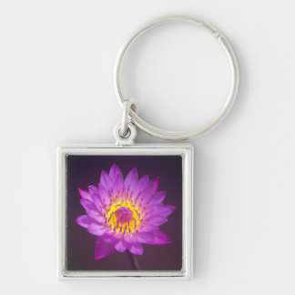 Purple Lotus Flower Key Ring