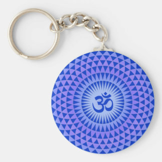 Purple Lotus flower meditation wheel OM Basic Round Button Key Ring