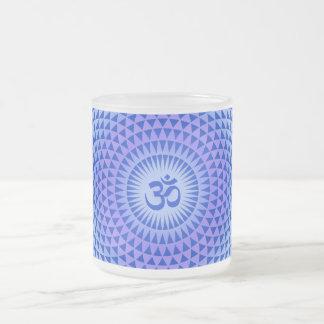 Purple Lotus flower meditation wheel OM Frosted Glass Mug