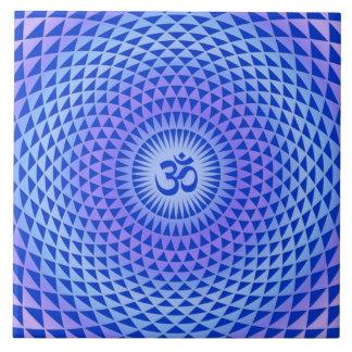 Purple Lotus flower meditation wheel OM Tile