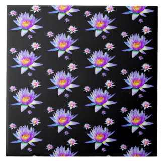 Purple Lotus Flower Pattern Large Square Tile