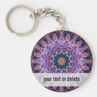 Purple Lotus kaleidoscope Basic Round Button Key Ring