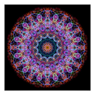 Purple Lotus kaleidoscope Poster