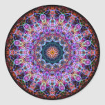 Purple Lotus kaleidoscope Round Sticker