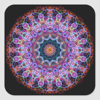 Purple Lotus kaleidoscope Square Sticker