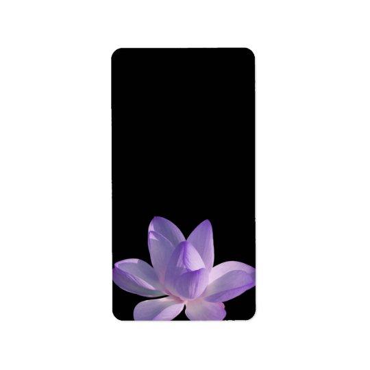 Purple Lotus Light on Black Address Label