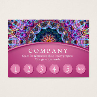 Purple Lotus Mandala Customer Loyalty Card - pink