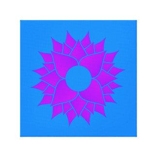 Purple Lotus on Blue Canvas Print