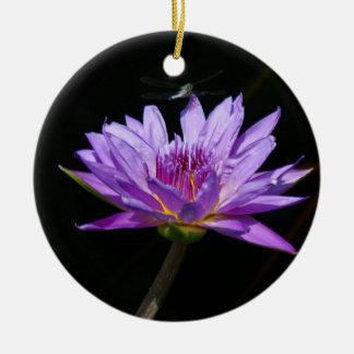 Purple Lotus Waterlily Dragonfly Christmas Ornament