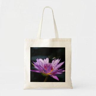 Purple Lotus Waterlily dragonfly tote bag