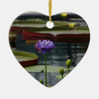 Purple Lotus Waterlily Flower Christmas Ornament