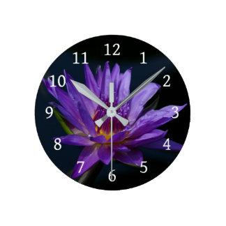 Purple Lotus Waterlily Round Clock