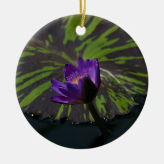 Purple Lotus Waterlily striped lily pads Christmas Ornament