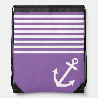 Purple Love Anchor Nautical Drawstring Bag