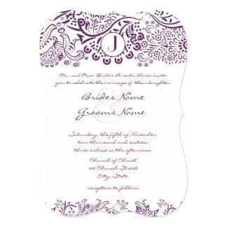 Purple Love Birds Damask Monogram Weddings Custom Invites