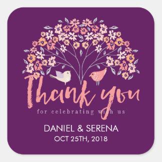 Purple Love Birds Flower Thank You Wedding Sticker