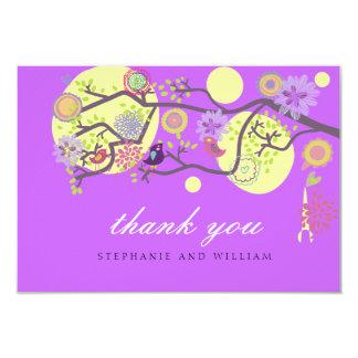 Purple Love Birds Wedding Thank You Card 9 Cm X 13 Cm Invitation Card