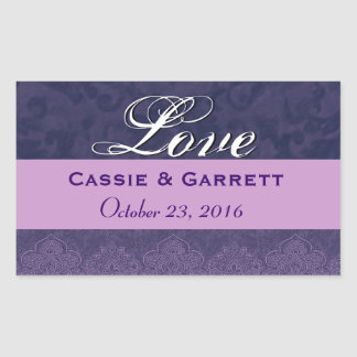 Purple Love Bride and Groom Wedding Sticker Set