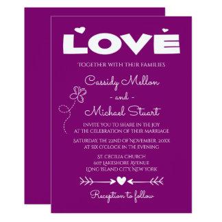 Purple Love, Butterflies & Hearts Wedding Card