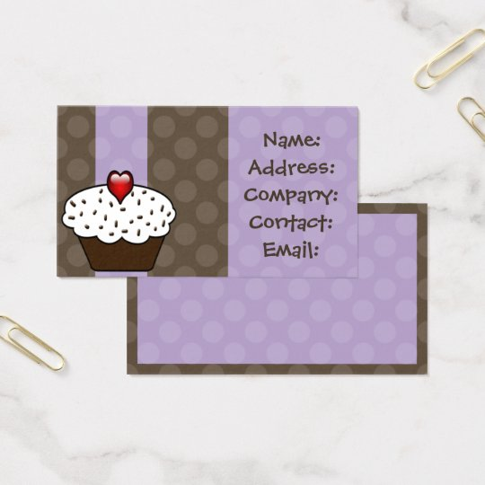Purple Love cupcakes business Cards