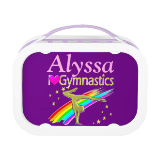 PURPLE LOVE GYMNASTICS PERSONALIZED LUNCH BOX