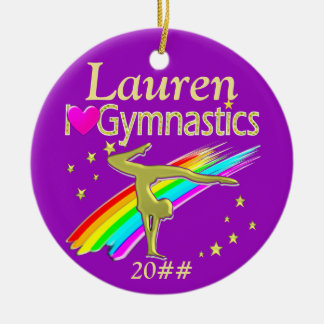 PURPLE LOVE GYMNASTICS PERSONALIZED ORNAMENT