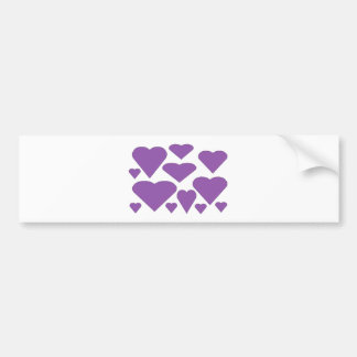 Purple Love Hearts Bumper Sticker