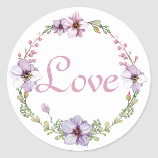 Purple Love Lavender Watercolor Floral Wreath Round Sticker