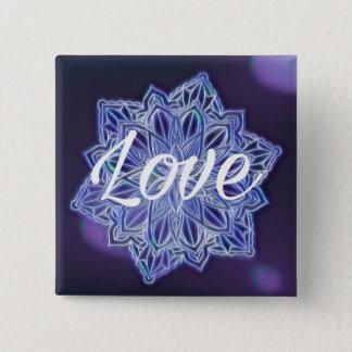 Purple love mandala 15 cm square badge