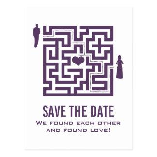 Purple Love Maze Save the Date Postcard