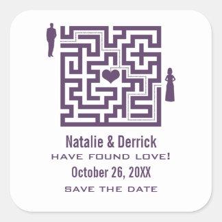 Purple Love Maze Save the Date Stickers