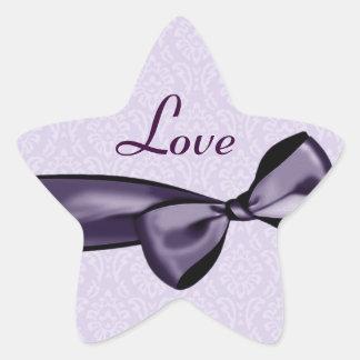 Purple LOVE Wedding Bow & Damask Star Sticker