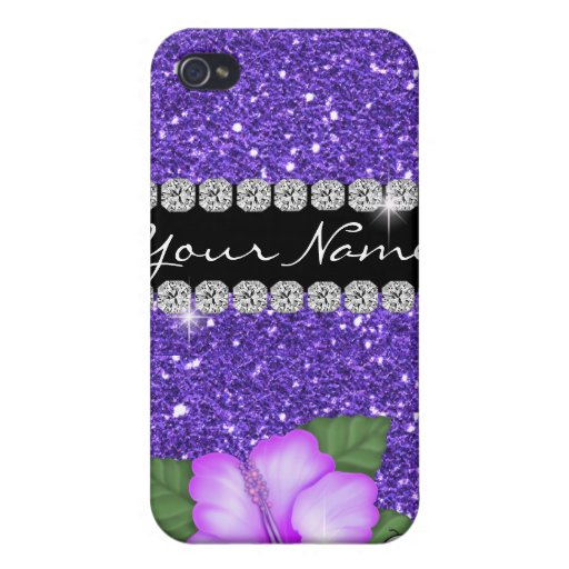 PURPLE LOVERS HIBISCUS BLING 4s  Cover For iPhone 4
