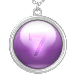 Purple Lucky 7 Round Pendant Necklace