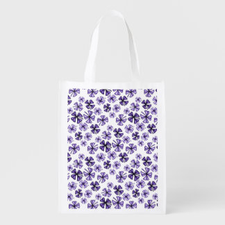 Purple Lucky Shamrock Clover Reusable Grocery Bag