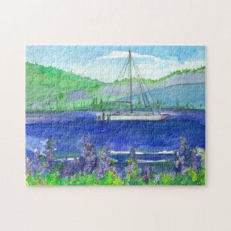 Purple Lupines Mountain Lake Catamaran Puzzle