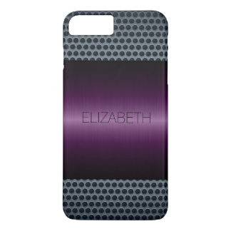 Purple Luxury Stainless Steel Metal Look iPhone 7 Plus Case
