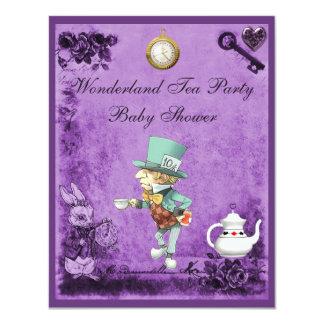 Purple Mad Hatter Wonderland Tea Party Baby Shower Invitations