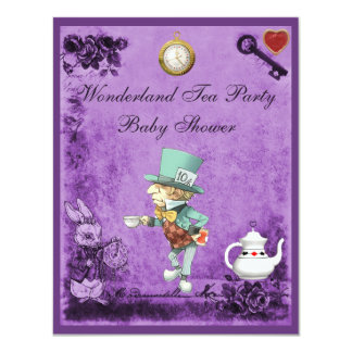 Purple Mad Hatter Wonderland Tea Party Baby Shower Personalized Announcements